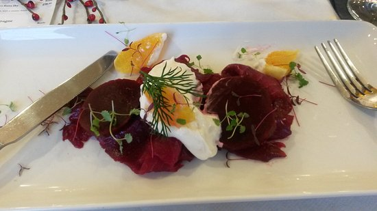 Hyde, UK: Salmon & beetroot carapcio with horseradish sauce & steak with a black pudding scotch egg &  chi
