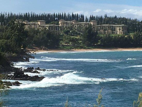 View from Honolua Bay toward Kapalua Golf Resort.
