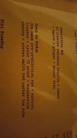 Irving Street Kitchen: drink menu