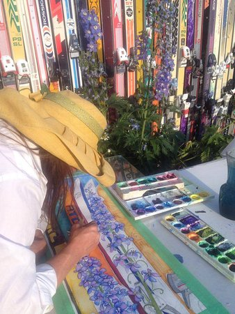 Fraser, CO: Painting in the gardens.