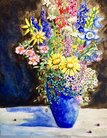 Fraser, CO: Colorado Wildflower Bouquet Watercolor painting.