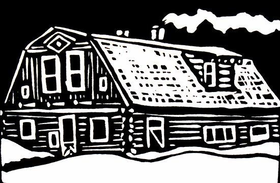 Line Art House : Linoleum cut of doc susie s house picture elizabeth kurtak