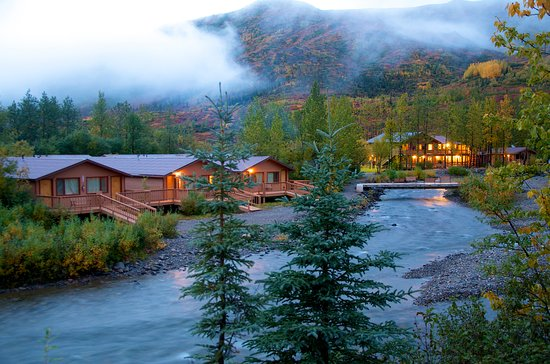 Denali Backcountry Lodge on a misty fall evening