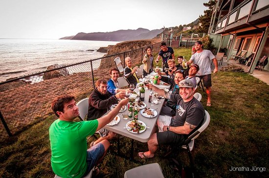 Mountain Bike Tours with Sacred Rides: Dinner on the coast on our Great Lost Coast Adventure.