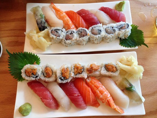 Sunnyside, NY: Sushi-A, seven pieces of sushi and choice of roll. Yellow tail roll (upper) and spicy tuna roll.