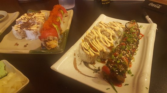 Clearfield, UT: Cream cheese roll, Rainbow Roll, House Sauce Roll, and Sriracha roll