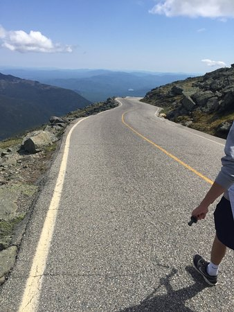 Mount Washington, NH: This is a section of the steep auto road we started to walk down.