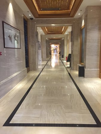 Tangshan, China: Pictures of the main hallway, holiday decorations and a ceiling treatment in the guest rooms.