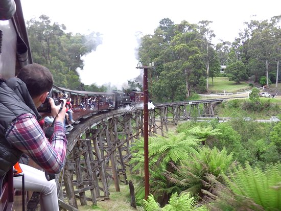 Belgrave, Australia: Puffing Billy going across the scenic bridge