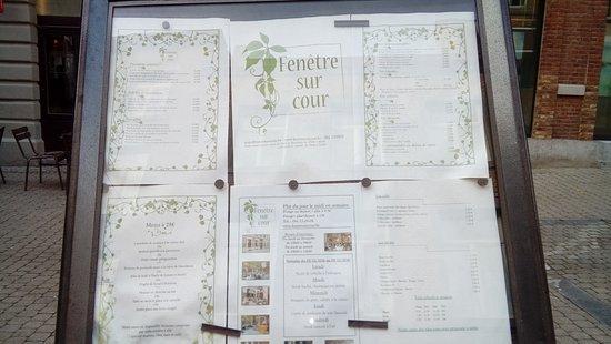 Fenetre Sur Cour: Exterior Menu Board.