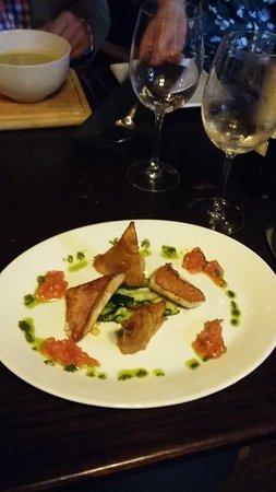 Kingsbridge, UK: Perfect bass with a shrimp samosa, herby pesto and the freshest tomato salsa, mmmmmh!