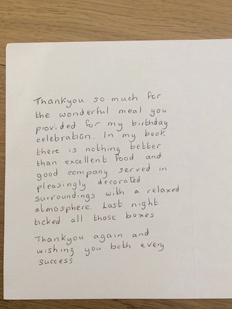 Sturminster Newton, UK: A pleasure to receive a hand written note after a successful fun filled evening.