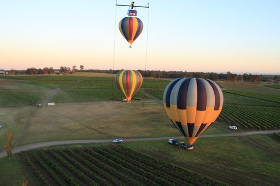 Lovedale, Australia: We were the first balloon off the ground and the two other balloons are framed by the camera cor
