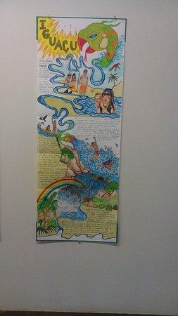 Ciccillo Matarazzo Pavilion : Desenho e textos feitos à mão (o que me pareceu caneta hidrocor) sobre uma lenda indígena.