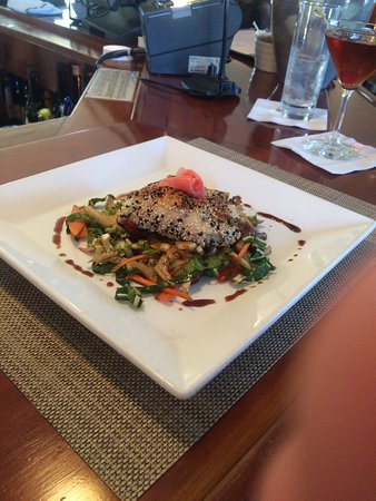 Brewster Fish House: Fresh, local sesame crusted flounder with bok chop