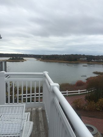 Harwich, MA: Full side deck overlooking the water