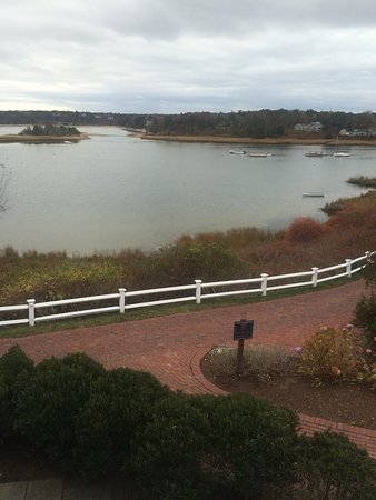 Harwich, MA: View from end of deck with nice walkway around the water