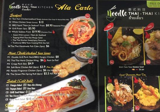 Menu Picture Of Noodle Thai Thai Kitchen Beach Road