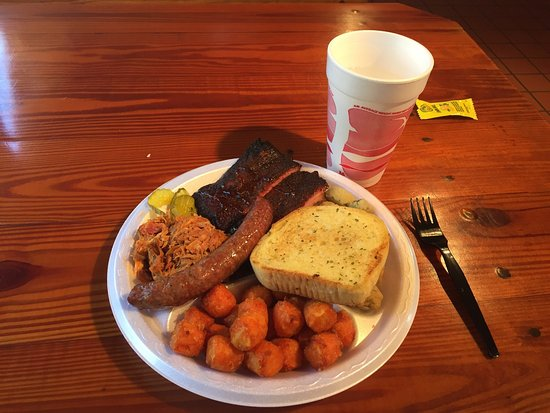 3-Meat Plate (Pulled Pork, Ribs, Smoked Sausage), Fried Okra, Sweet Potato Tots, Garlic Bread