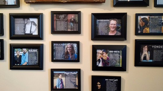 """Lindsborg, KS: The Chestnut Studios """"Maker's Wall"""" gives a little bio to read about each artist/maker in the st"""