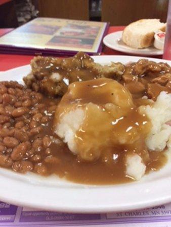 Saint Charles, MN: Roast pork lunch special - $7.50