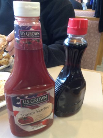 Kenmore, NY: Ketchup and syrup provided for breakfast.