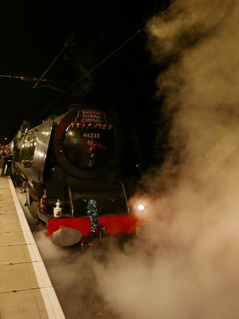 King s Lynn, UK: Duchess of Sutherland at night on the return journey stopping for water