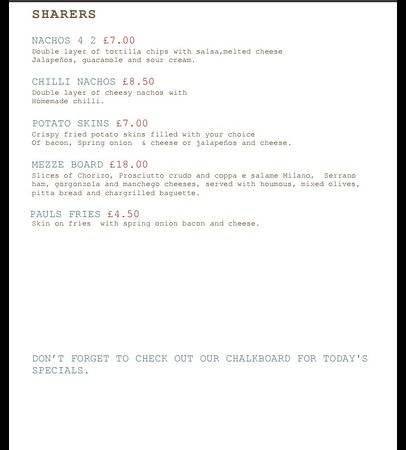 Westgate-on-Sea, UK: Pauls Cafe bar menu