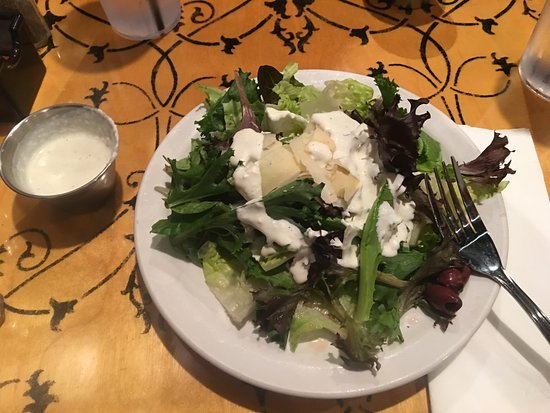 Carmel, IN: House salad with creamy cucumber salad dressing
