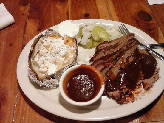 Spring, TX: BBQ Sliced Beef Plate with stuffed baked potato
