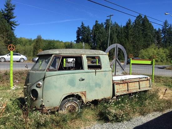 Hippy van at Coombstock, The Old Country Market,  2310 Alberni Hwy, Coombs, Britis