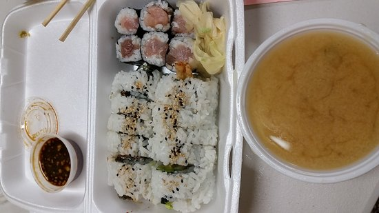 kojima sushi 3 roll special with soup for less than 8 you can
