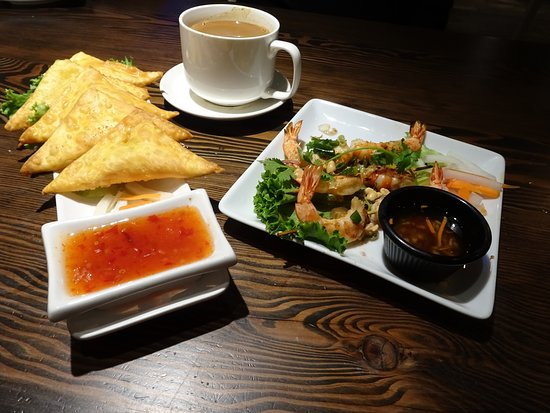 West Linn, OR: Lobster Wonton and vietnamese coffee and Shrimp Satay skewers