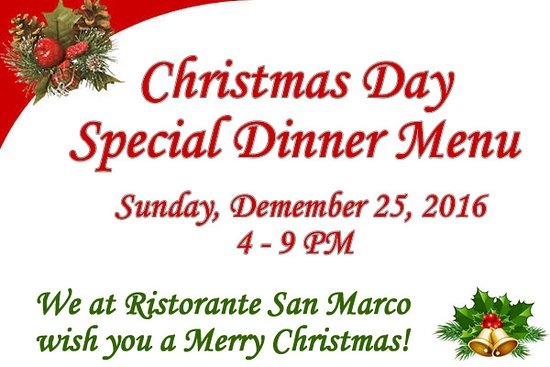 Ristorante San Marco: We hope to see you on Christmas Day!