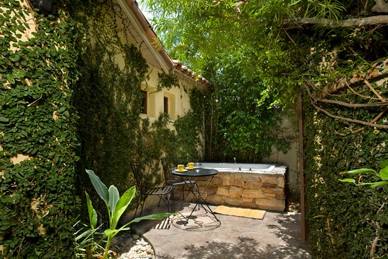 The Andalusian Court: Villa Two outdoor spa in private garden patio.