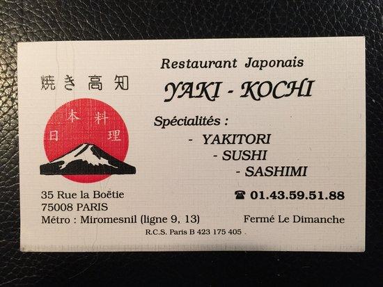 Yaki Kochi Carte De Visite Du Restaurant Utile Pour Le Plan