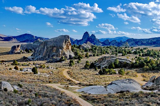 Almo, ID: View of campground, Elephant Rock and Twin Sisters
