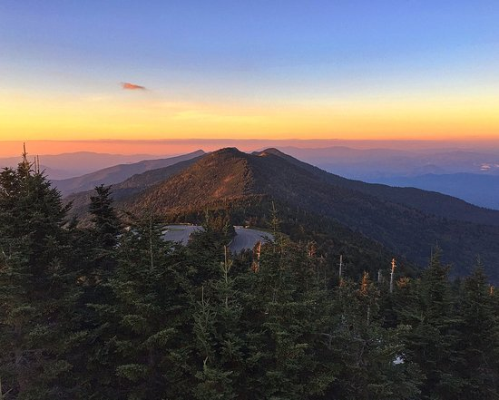 Burnsville, NC: Evening on the observation deck atop Mt. Mitchell looking towards Mt. Craig to the north