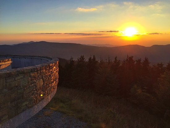 Burnsville, NC: Sunset viewed from the observation deck atop Mt. Mitchell