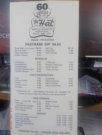 อัปแลนด์, แคลิฟอร์เนีย: The menu.