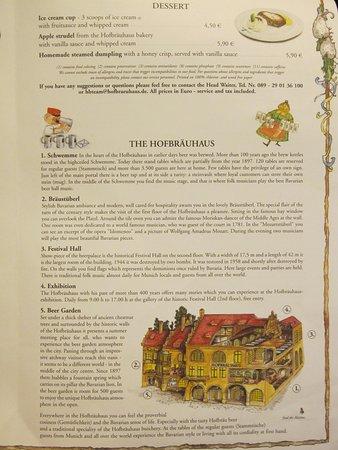 The Food Menu Picture Of Hofbrauhaus Munchen Munich