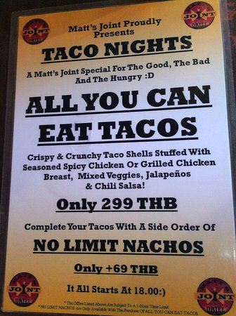 matt s joint grill all you can eat tacos plus added no limit nachos if you