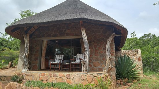 the patio of our thatched roof bungalow picture of iketla lodge