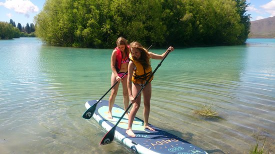 Twizel, New Zealand: Summer 2016 my first customers on my new  3.7 meter paddle board