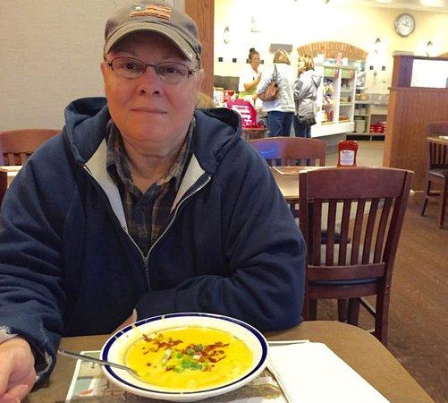 Princeton, WV: My wife enjoyed cheesy potato soup with bacon and scallions.