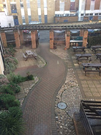 The White Lion Hotel: Stairs and court yard at white lion Wisbech