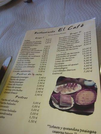 Carta Del Restaurante 2016 Picture Of Restaurante El Cafe Vega