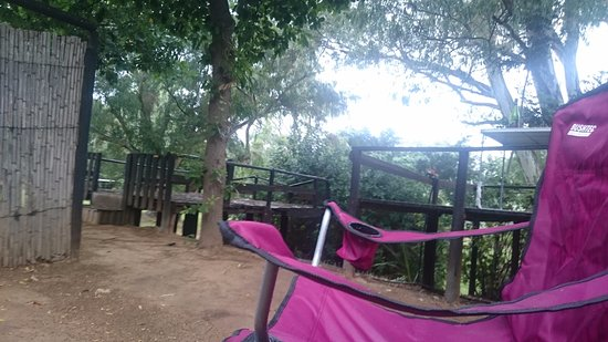 Bonnievale River Lodge: Camp site on a rainy morning