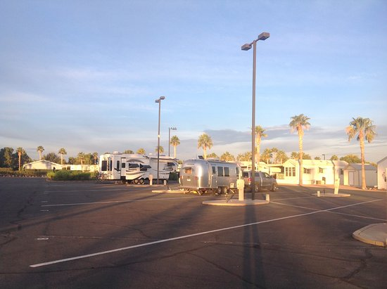 Palm Creek Golf & RV Resort: Parking lot for overnight. Lot slants north by several inches.