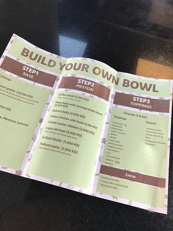 build your own bowl menu picture of the bowl restaurant kuwait